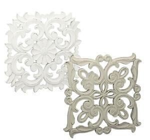 Wandbild-Wanddeko-weiss-oder-grau-used-look-Ornament-Vintage-Lilien-Shabby-Style