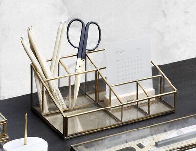 House Doctor Monograph Schreibtisch Organizer Büro Butler Glas messing gold Box