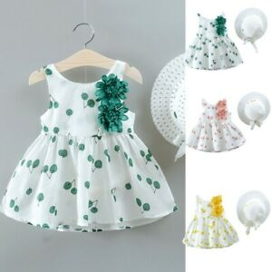 Infant Toddler Kid Baby Girl Cherry Print Princess Dress+Hat Outfits Set Clothes