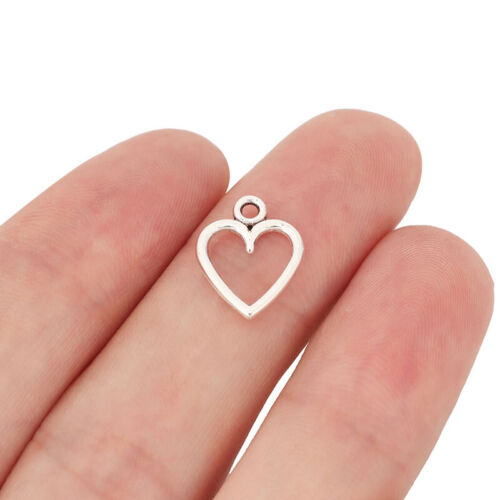 100 Tibetan Silver Open Heart Charms Pendants Beads 2 Sided for Jewellery Making