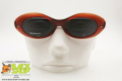 Razionale Blue Bay By Safilo B&b 24/s Oval Cat Eye Sunglasses, Red Opaque Acetate, Nos