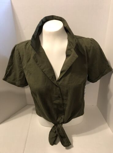 S Charlotte Russe Olive Green Crop Top #91336-ON Sizes XS M Sizes