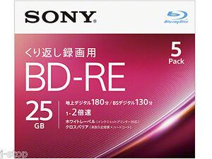 5-Sony-BD-RE-Bluray-Discs-25GB-2x-Speed-Inkjet-Printable-Rewritable-Blu-ray-Disk
