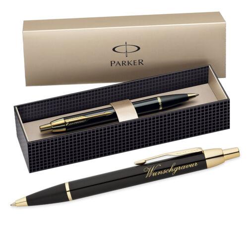 Farbe - Schwarz gold Parker IM Kugelschreiber inkl Gravur mit Geschenkbox