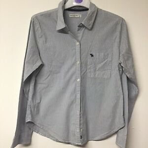 Ladies-Light-Blue-Striped-Abercrombie-And-Fitch-Shirt-Size-L-661