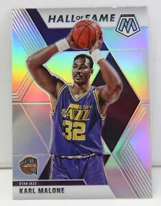 Karl-Malone-2019-20-SILVER-MOSAIC-PRIZM-Hall-of-Fame-Refractor-Card-284-Jazz-SP