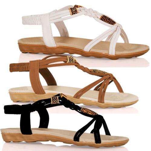 New Womens Flats Boho Low Heels Ladies Beaded Strappy Peep Toe Sandals Shoes SZ