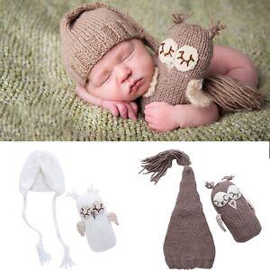 Newborn Baby Girls Boys Crochet Knit Hat+OwlToys Photo Photography ... a39daa5a943