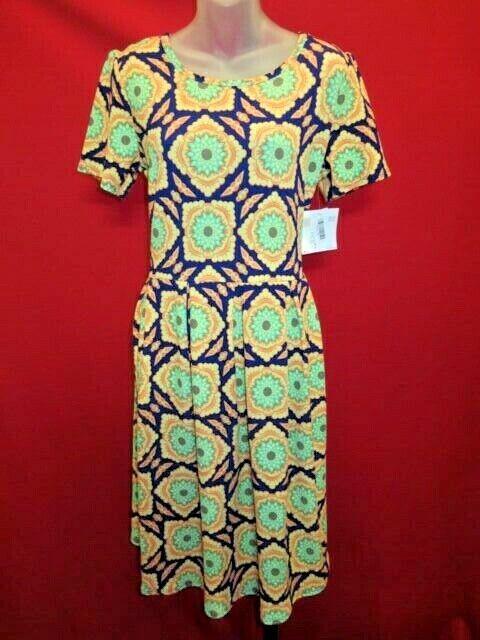 LULAROE Comfy Yellow Green Floral AMELIA Dress Sz XL NWT