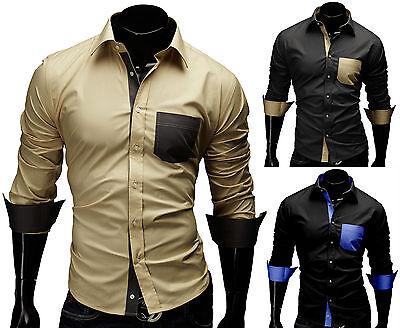 MERISH Herren Hemd Größe S-XXL Slim Fit Brusttasche Figurbetont T-Shirt Polo 45
