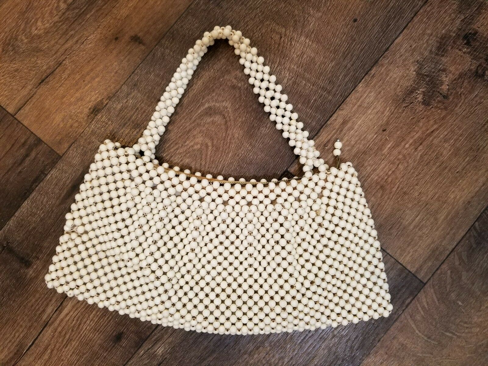 Vintage 50s-60s White Beaded Handbag Purse Made in Japan for May D & F CO