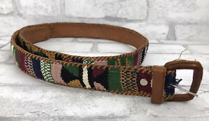 Vintage Genderless Leather Western Belt Size 42 with Woven Wool Guatemalan