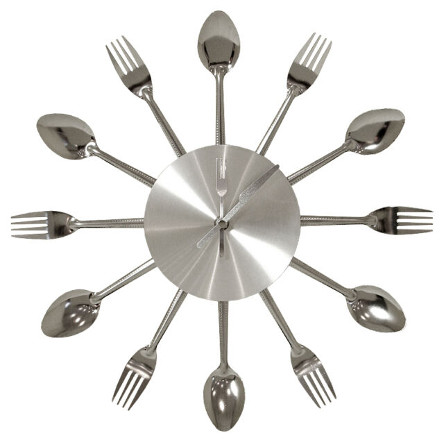 Large Fork And Spoon Metal Kitchen Wall Clock 38 cms