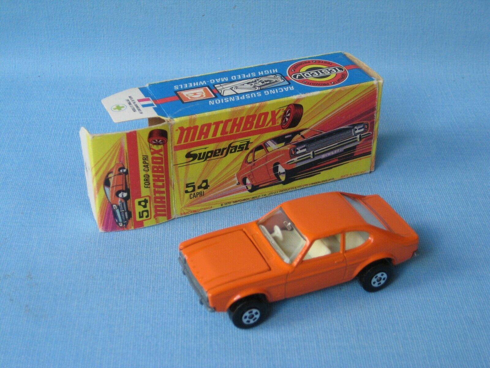 LESNEY MATCHBOX SUPERFAST 54 Ford Capri Corps Orange Coffret  Jouet Voiture Modèle  haute qualité