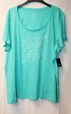 NEW TORRID WOMENS PLUS SIZE 4X 4 TURQUOISE TIC TAC LOVE TOE SCOOP TEE SHIRT TOP