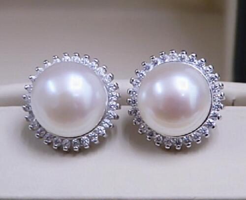 Huge natural 11-12MM akoya white  pearl earrings Silver stud
