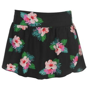 Ladies Black Floral Full Circle Swim Swimming Skirt Costume Swimsuit Swimmers