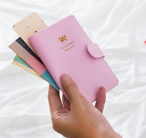 Cute Pink Bowknot Passport Holder PU Travel Wallet ID Document Credit Card Purse