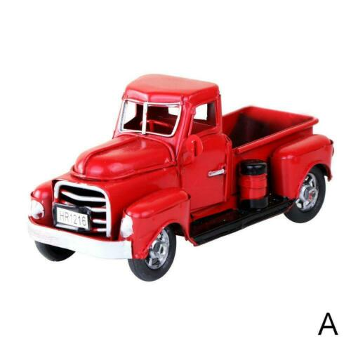 Christmas Vintage Red Metal Truck with Movable Wheel Kids Table Top Decor Gift