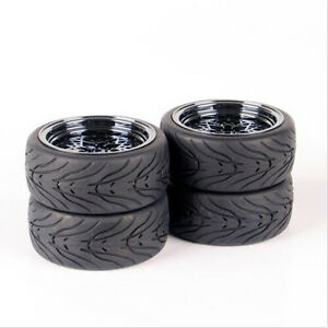 4X-Rubber-Tires-amp-Wheel-Rims-For-HSP-HPI-RC-1-10-Scale-On-Road-Racing-Car-10362