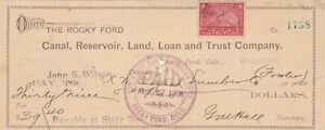 1900 THE ROCKY FORD CANAL, RESERVOIR, LAND AND TRUST CO. , COLORADO