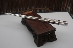 New-S999-Sterling-Silver-Tableware-Lucky-Many-Word-Chopsticks-210x6mm-52-6g