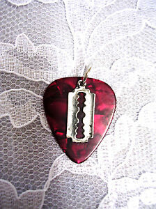NEW DEEP RED GUITAR PICK w SMALL RAZOR BLADE PEWTER CHARM PENDANT ADJ NECKLACE