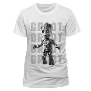 OFFICIAL-MARVEL-039-S-GUARDIANS-OF-THE-GALAXY-2-GROOT-PHOTO-WHITE-T-SHIRT-NEW