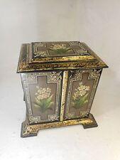 Antique Desktop Lacquered Cabinet , Papier Mache , Gitl Decoration     ref 3076