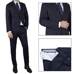 Vestito-Uomo-blu-Completo-Sartoriale-Abito-Casual-Slim-Cotone-Elegante-Cerimonia