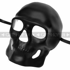 Shiny Black Halloween Skull Full Face Mask Masquerade Party Day of the Dead DIY