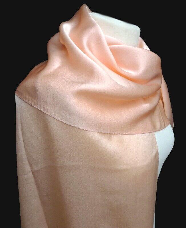 Edler Seidenschal 100% Seide apricot Damen Schal uni einfarbig 026 ....    | Qualität Produkte