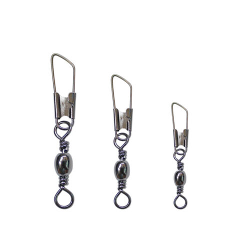 100pcs Brass Barrel Swivel With Interlock Snap Fishing Tackle Lure Connector