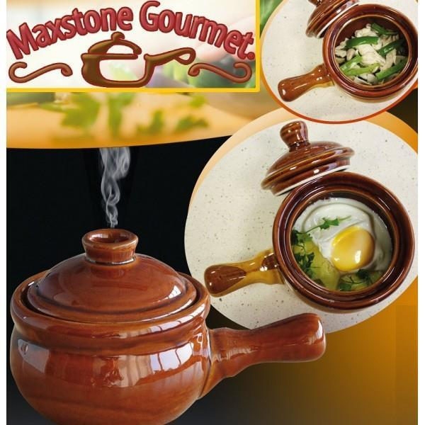 2 x MaxStone Gourmet Ceramic Stoneware Microwave Cooker Non Stick Pot Pan TWIN