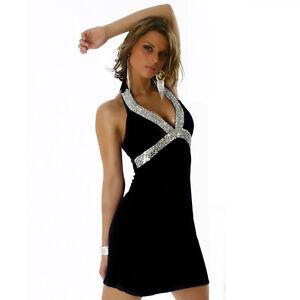 Neckholder kleid mit v ausschnitt