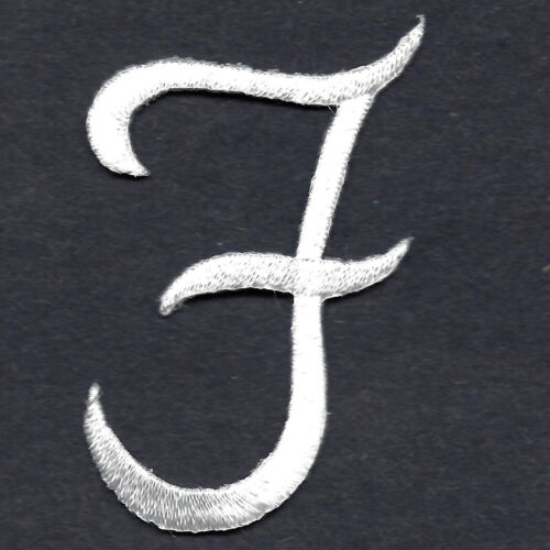"Iron On Embroidered Applique SCRIPT LETTERS White  Script Letter /""F/"""