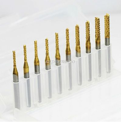 10x Titanium Coat Carbide 1.5mm-3.175mm End Mill Engraving Bits CNC Rotary Burrs