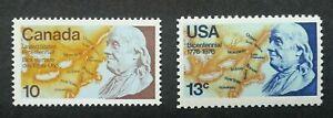 [SJ] USA Canada Joint Bicentenary American Revolution Benjamin 1976 (stamp) MNH