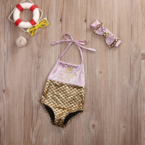 Kids Baby Girl Mermaid Swimwear One-piece Bikini Swimsuit Bathing Suit Beachwear