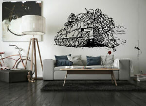 Wall-Vinyl-Sticker-Decals-Mural-Room-Design-Art-Soldiers-War-Tank-Fight-bo1964
