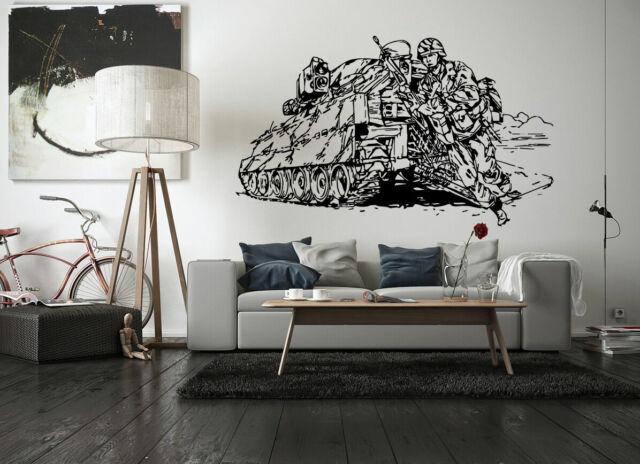 Wall Vinyl Sticker Decals Mural Room Design Art Soldiers War Tank Fight bo1964