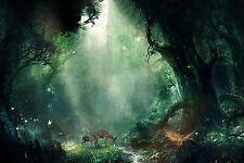 A4 Poster - 2 CERVI mangiare in un MAJESTIC boschi verdi (immagine di origine animale stampa art)