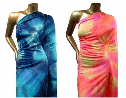 Shiny Glitter Waves on Tie Dye Pattern Stretch Nylon Spandex Fabric