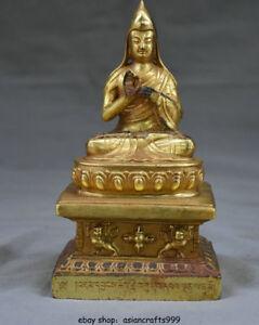6-8-034-Alt-Tibet-Kupfer-Gold-Buddhismus-Sitz-Je-Tsongkhapa-Guru-Lama-Buddha-Statue