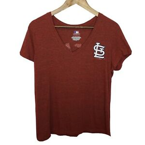 St-Louis-Cardinals-Womens-XL-Cap-Sleeve-T-Shirt-V-Neck-Fitted-Great-Catch-MLB