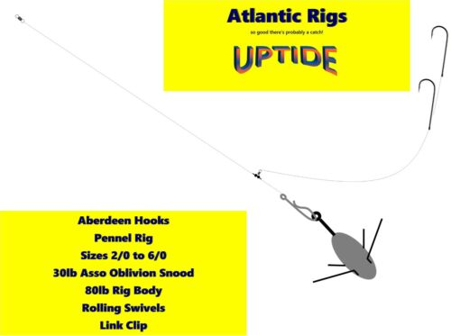 PACK OF 5 SPECIALIST UPTIDE SEA FISHING RIGS FOR BOAT FISHING COD ABERDEEN HOOKS