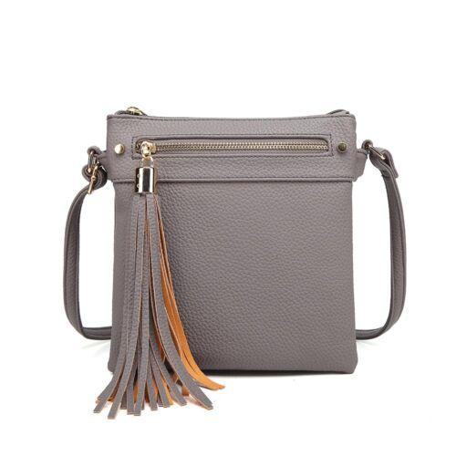 Women/'s designer made multi pocket cross body Messenger Bags with a tassel
