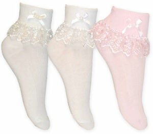 Pair Of 2 Girls Bow Lace Socks Frilly Ankle School Socks PINK WHITE CREAM