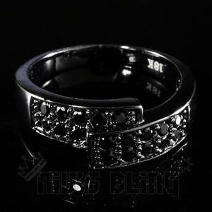 18K-Black-Gold-Iced-Out-MICROPAVE-Engagement-Band-CZ-HipHop-Men-Women-Pinky-Ring