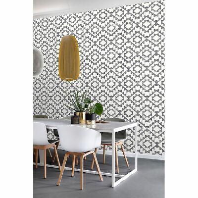 Fantine Black Geometric Wallpaper Modern Aztec Boho Style